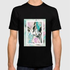 You Had Me at Aloha Floral Black Mens Fitted Tee MEDIUM