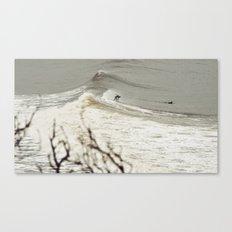 Surfing backwards Canvas Print