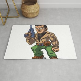Veteran military cartoon illustration Rug