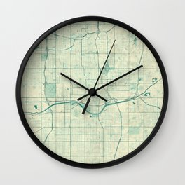 Oklahoma City Map Blue Vintage Wall Clock