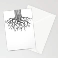 Tree Root Drawing (black on white) Stationery Cards