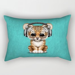 Cute Tiger Cub Dj Wearing Headphones on Blue Rectangular Pillow