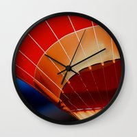 hot air balloon Wall Clocks featuring Hot Air Balloon by DistinctyDesign