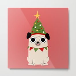 It's Christmas for Pug's Sake Metal Print