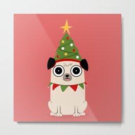 It's Christmas for Pug's Sake Metal Print