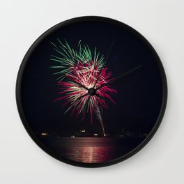 Fireworks Over Lake 20 Wall Clock