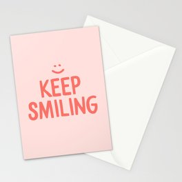 Keep Smiling - Pink Happiness Quote Stationery Cards