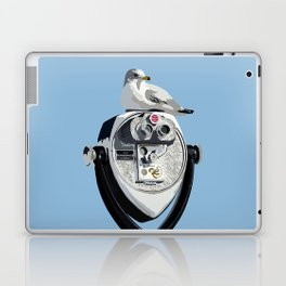Seagull on Binoculars by the Ocean Illustrated Print Laptop & iPad Skin