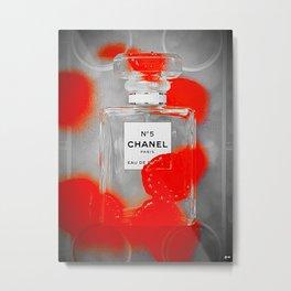 No 5 Red Splash Metal Print
