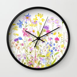 colorful meadow painting Wall Clock