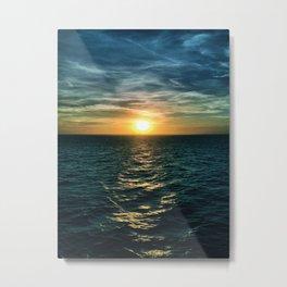 Sunset over North Sea Metal Print