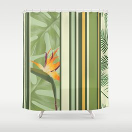 Heliconia Palm leaves pattern Shower Curtain