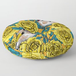 Yellow rose flowers and goldfinch birds Floor Pillow