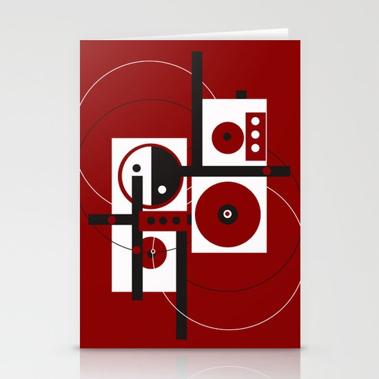 Geometric/Red-White-Black 2 Stationery Cards
