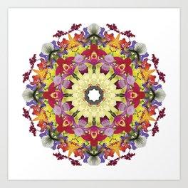 Abundantly colorful orchid mandala 1 Art Print