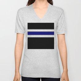 Team Colors 2....blue double gray white..stripes Unisex V-Neck