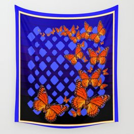 Modern Blue-black Lattice  Abstract Monarch Butterfly Flock Wall Tapestry