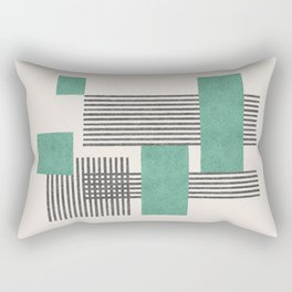 Stripes and Square Green Composition - Abstract Rectangular Pillow