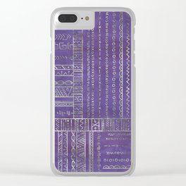 Tribal Ethnic pattern silver on  purple Clear iPhone Case