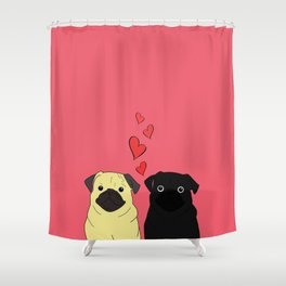 Pugs In Love Pink Shower Curtain