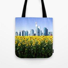 Frankfurt Germany Skyline Sunflower Field Tote Bag