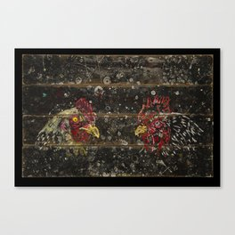 Chickens on wood Canvas Print