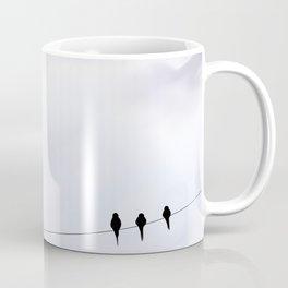 Bird cloudy sky sweet  illustration oiseau sur un fil ciel nuageux Coffee Mug