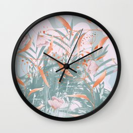 Fuzzy florals Wall Clock