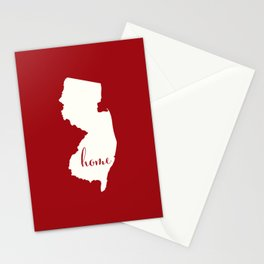 New Jersey is Home - White on Red Stationery Cards