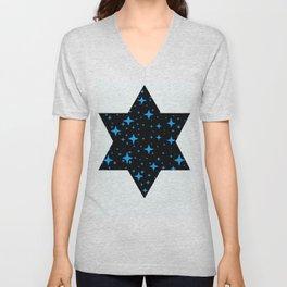 Bright Blue  Stars in Space Unisex V-Neck