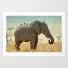 along for the ride _ an elephant and his feathered friends Art Print