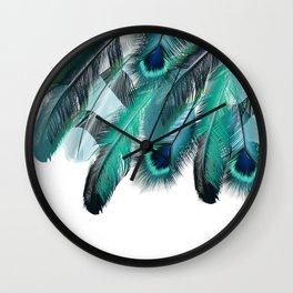 Peacock Feathers Aqua Blue Wall Clock