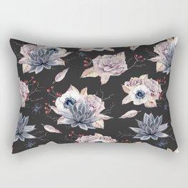 Halloween Spider Succulent Floral Pattern on a Dark Background Rectangular Pillow