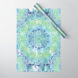 Blue Greenery Tie-Dye Mandala Wrapping Paper