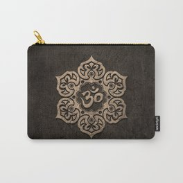Aged Stone Lotus Flower Yoga Om Carry-All Pouch