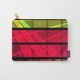 Black, red, yellow , green abstract striped a simple cell pattern . Carry-All Pouch