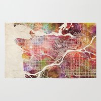 vancouver Area & Throw Rugs featuring Vancouver by MapMapMaps.Watercolors