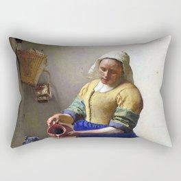 "Johannes Vermeer, "" The Milkmaid "" Rectangular Pillow"