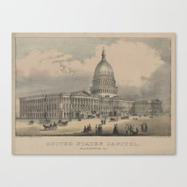 Vintage US Capitol Building Illustration (1872) Canvas Print