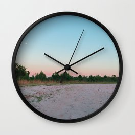 Forest with full moon at dawn in Tacuarembó, Uruguay Wall Clock