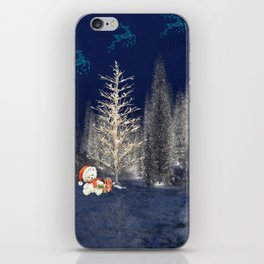 Magical Reindeer Christmas Forest iPhone Skin