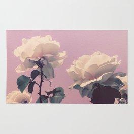 Vintage Spring Pearl White Roses Lavender Sky Rug