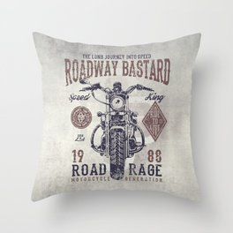 Vintage Motorcycle Poster Style Throw Pillow