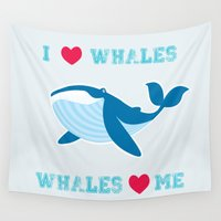 notorious Wall Tapestries featuring I love whales,whales loves me by mangulica illustrations