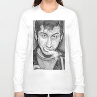 alex turner Long Sleeve T-shirts featuring Alex Turner Drawing  by Not Too Shabby