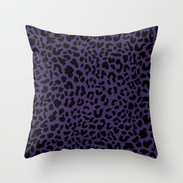 Dark Purple Leopard Print Throw Pillow
