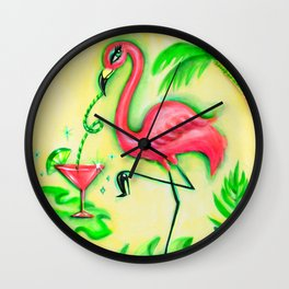 Flamingo Sipping a Pink Martini Wall Clock