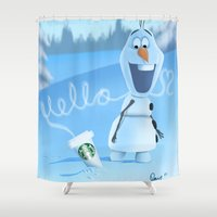 olaf Shower Curtains featuring oh hello coffee im olaf  by Dan Solo Galleries
