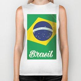 Brasil Nation flag travel poster Biker Tank