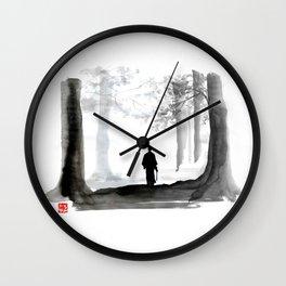 samurai back home Wall Clock